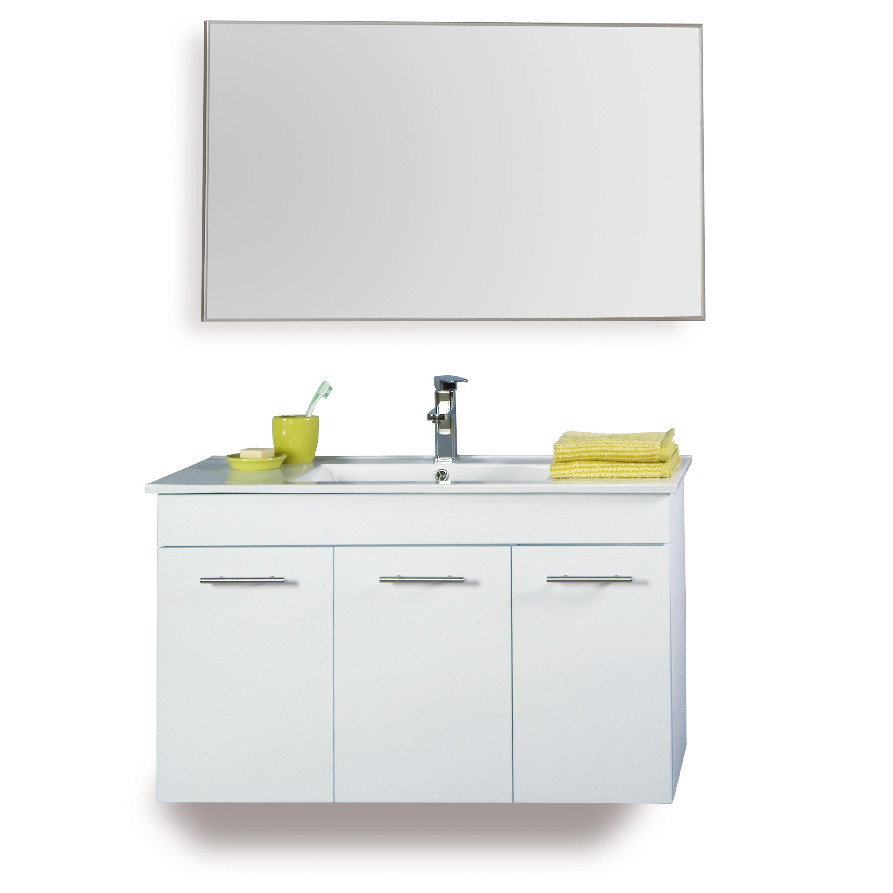 """ארון אמבטיה 60 ס""""מ + כיור + מראה תלוי באוויר במגוון צבעים"""